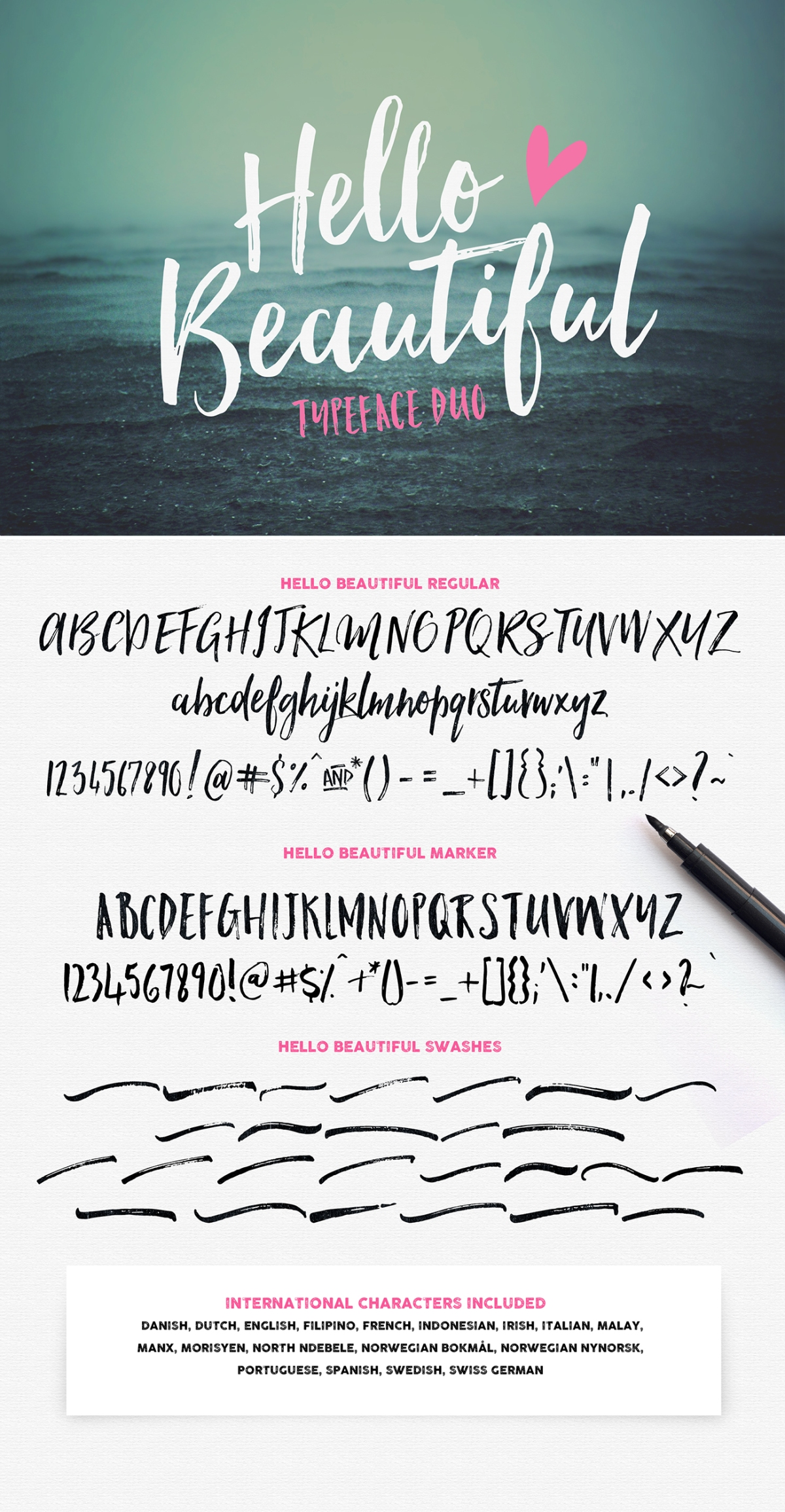 Hello Beautiful Font Duo + Swashes by Nicky Laatz