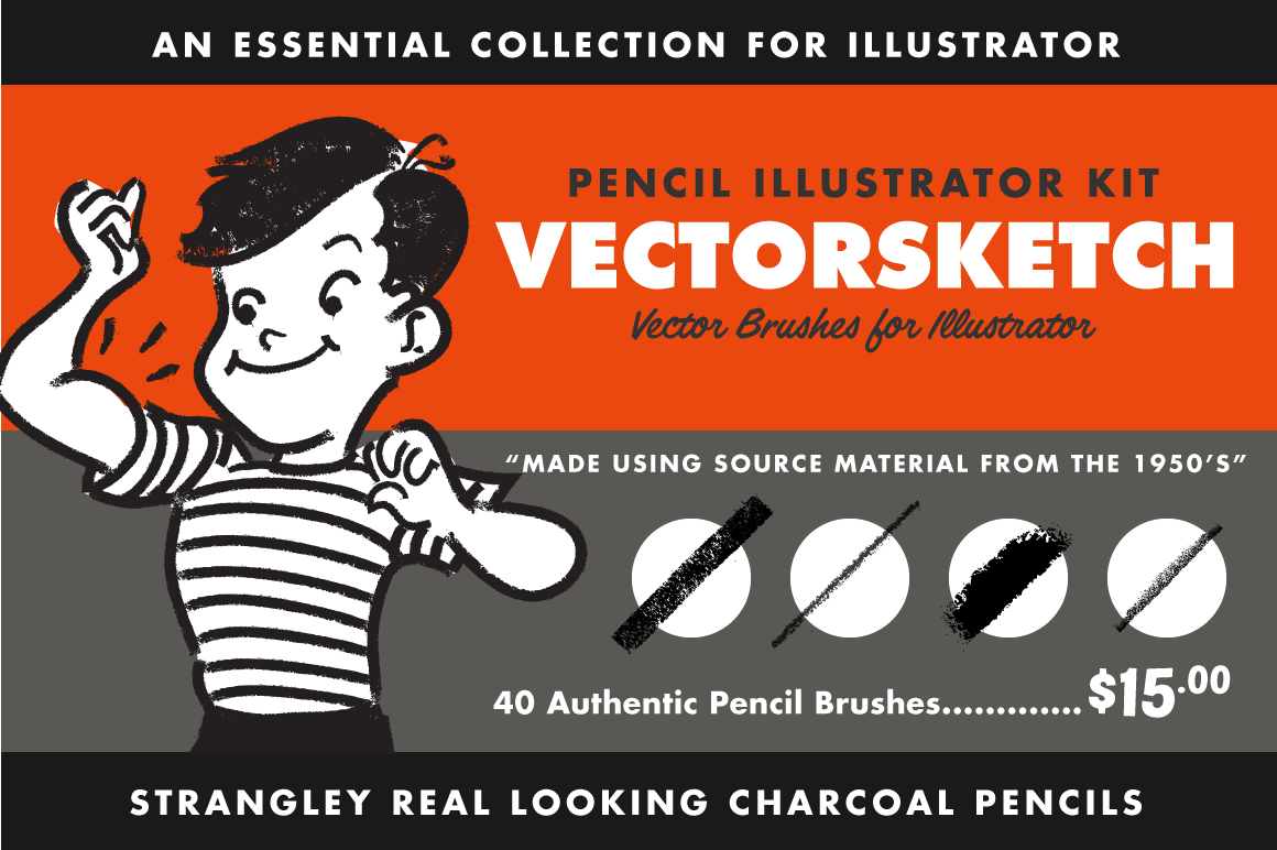 VectorSketch - Pencil Brushes for Illustrator by RetroSupply Co.