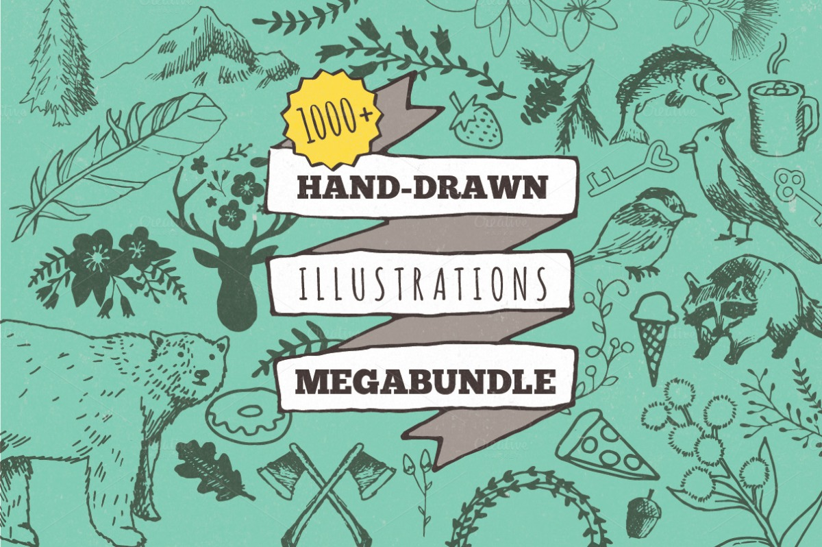 Hand-drawn Illustrations Megabundle by by Lemonade Pixel