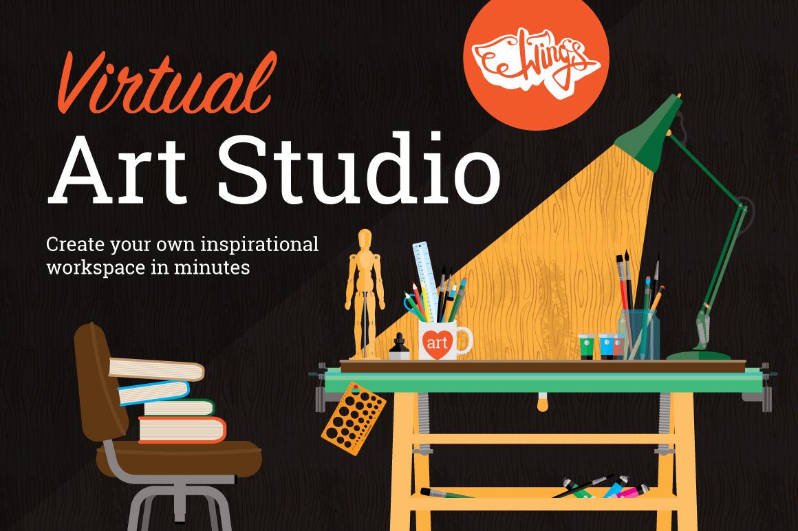 Virtual Art Studio Mock-Up Kit by wingsart