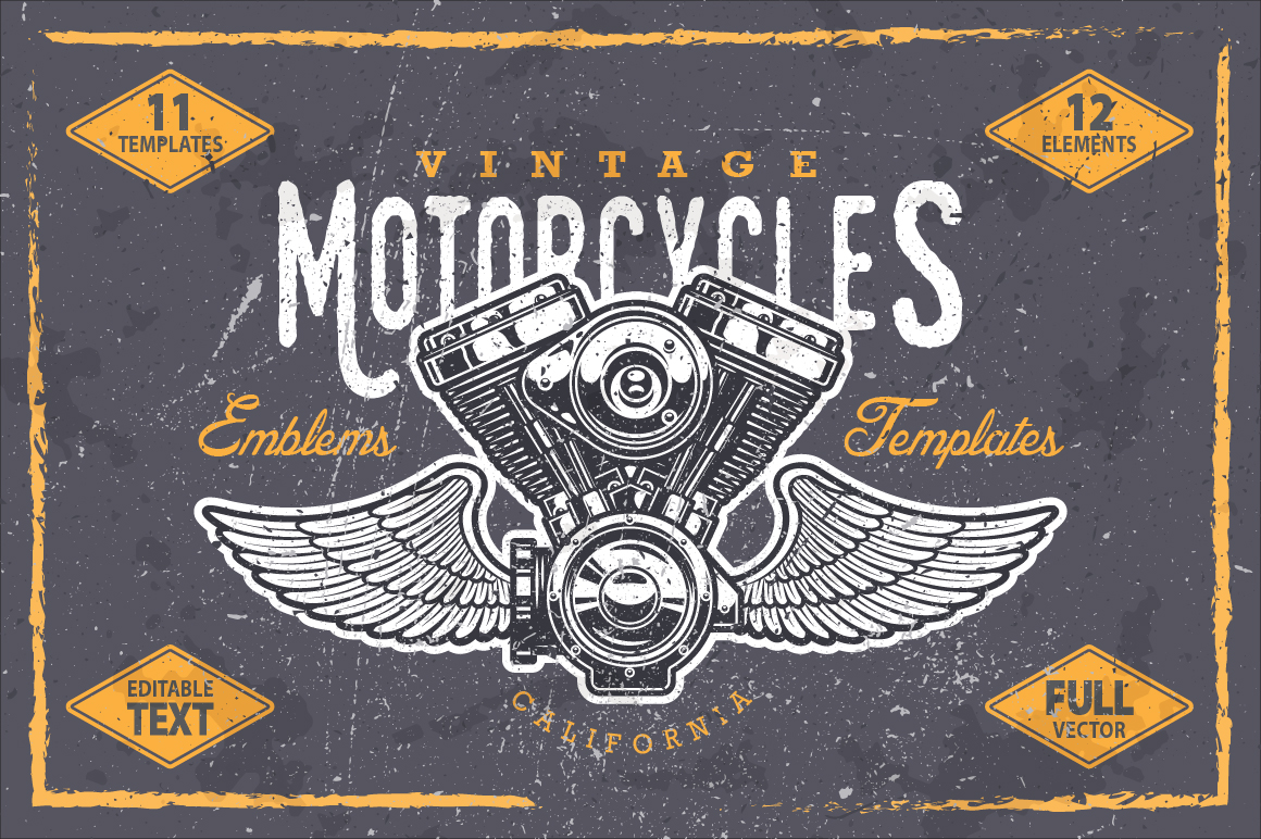 Vintage motorcycle emblem templates by Imogi