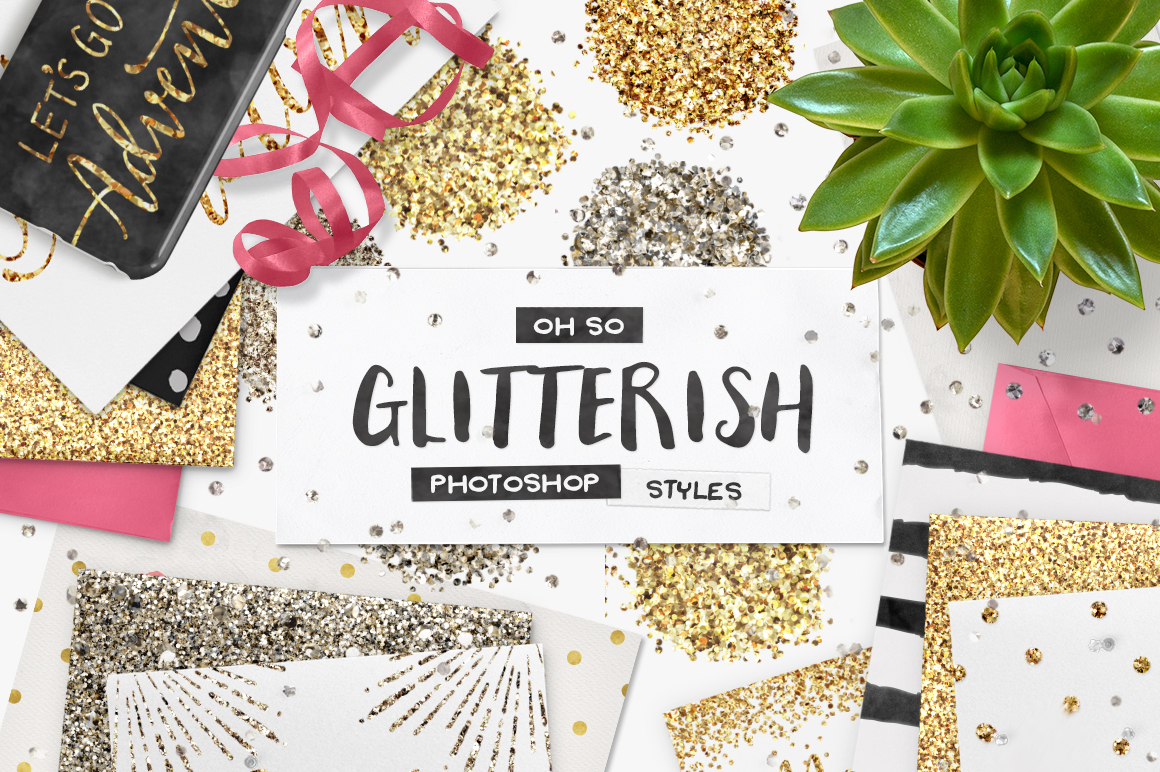 100 Glitter Photoshop Styles by Pink Coffie