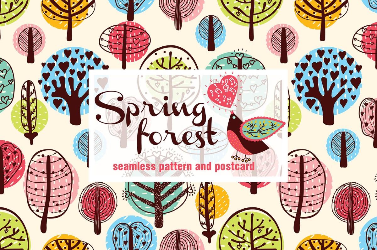 Spring Forest Illustrated Patterns by by vyazovskaya.julia