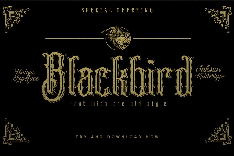 Blackbird Gothic Style Font by Inksun Mildertype