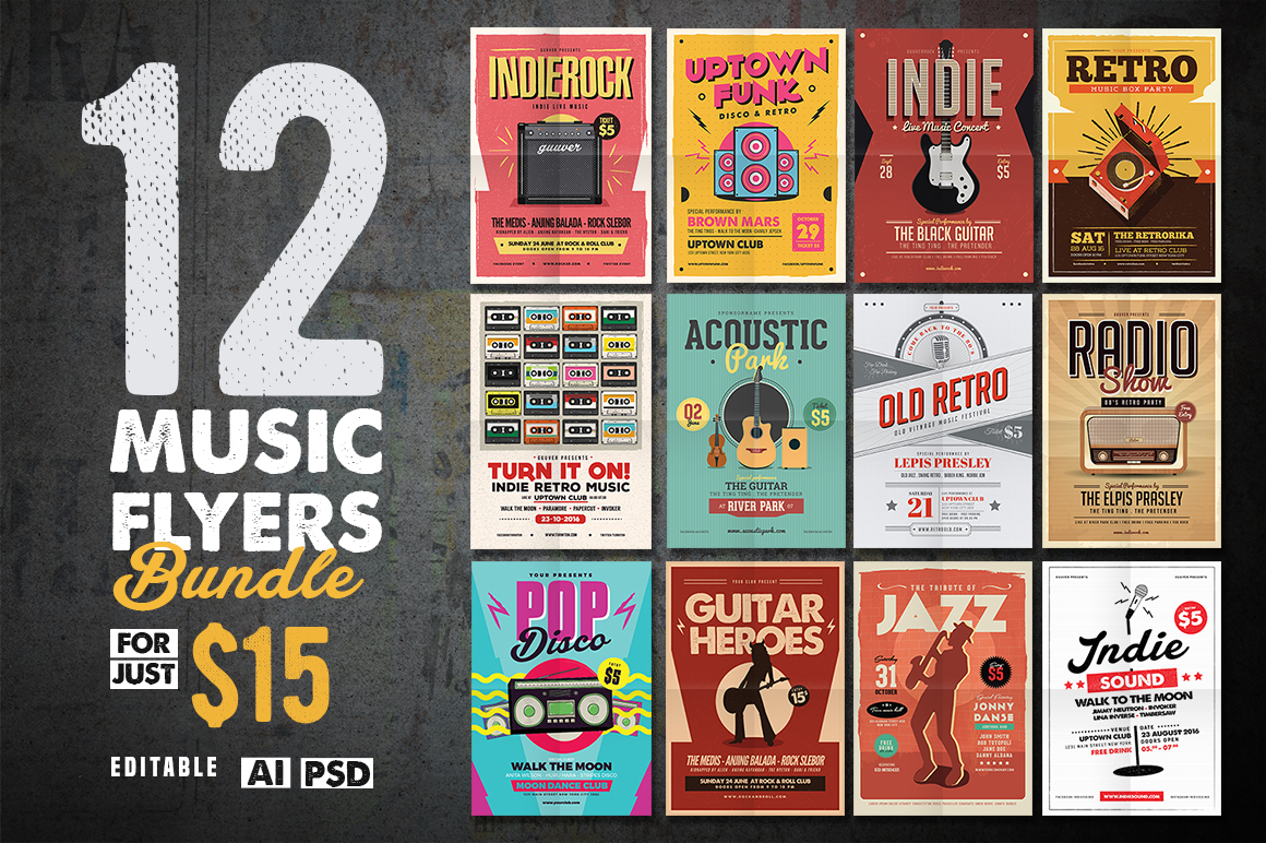 12 Indie Music Flyers Bundle by Guuver