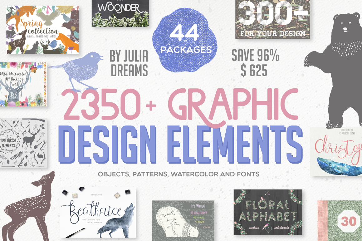 2350 Graphic Design Elements by by Julia Dreams for only $24