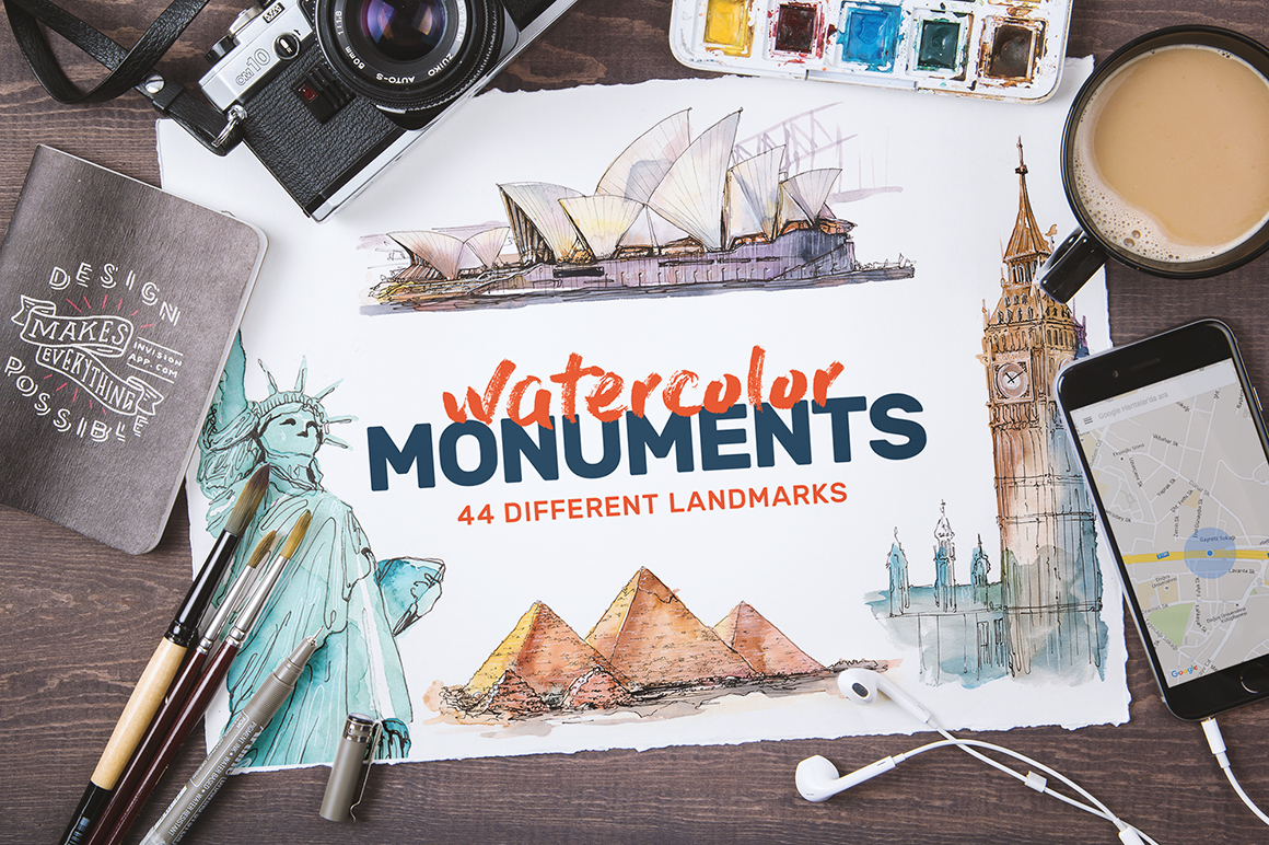 Watercolor Monument Paintings by emine