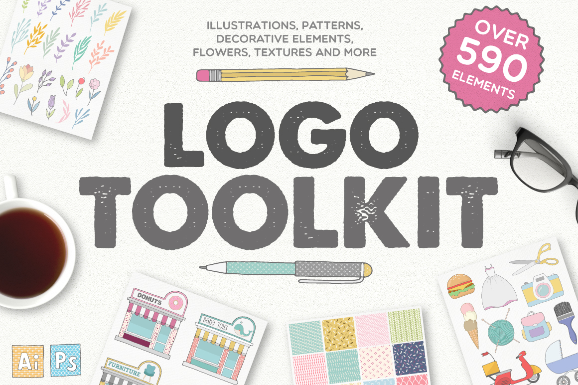 Beautiful Logo Toolkit by Julia Dreams- Over 590 Elements