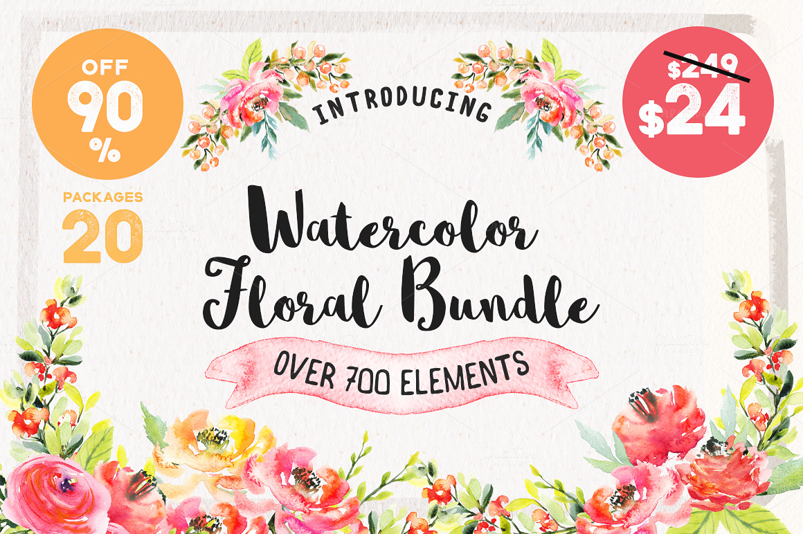 Watercolor Floral Bundle 90% OFF by Spasibenko Art