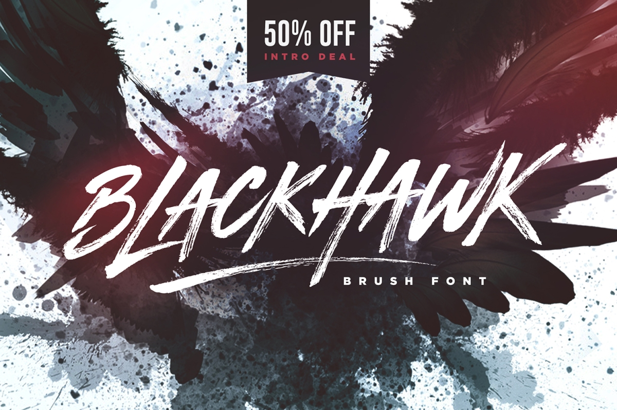 BLACKHAWK Brush Font by Sam Parrett 50% OFF!