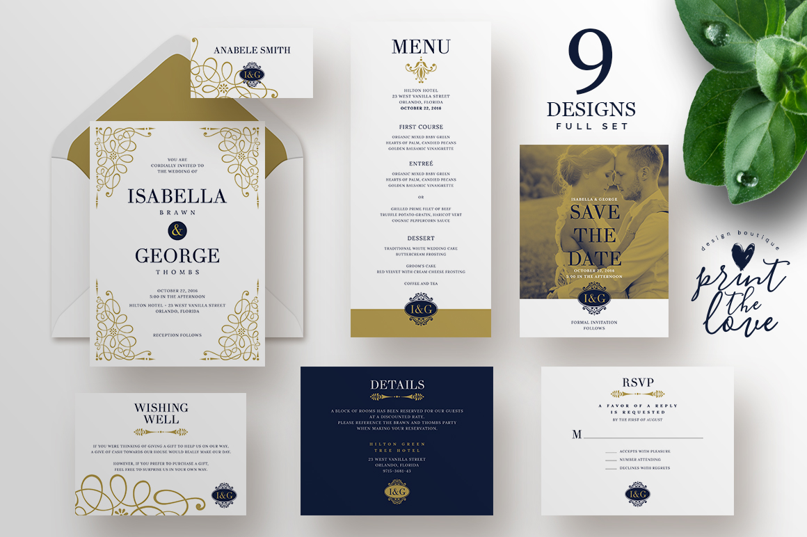 Wedding Invitation Suite - Isabella by Print The Love Boutique