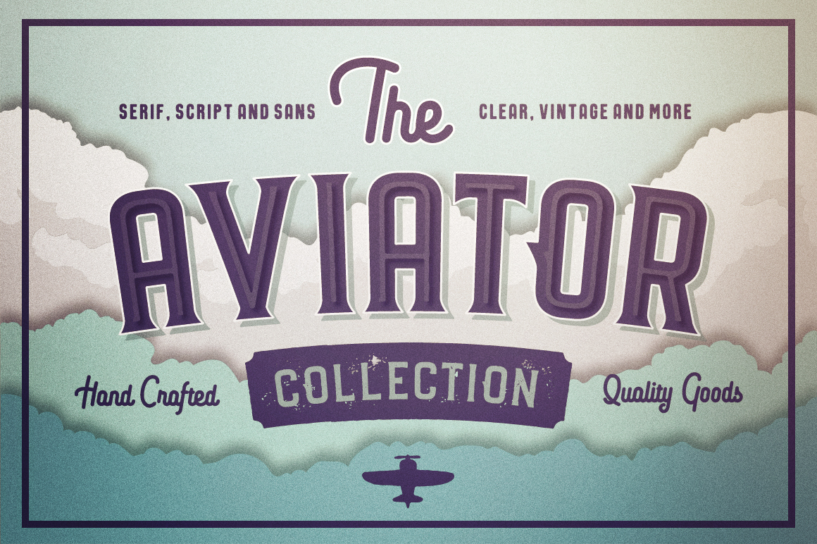 The Aviator Font Collection by Vintage Voyage Design Co.