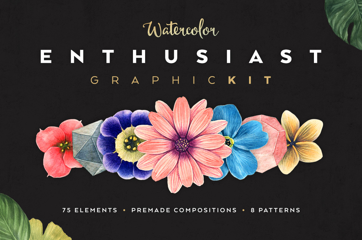 Watercolor Enthusiast Graphic Kit by PixelBuddha