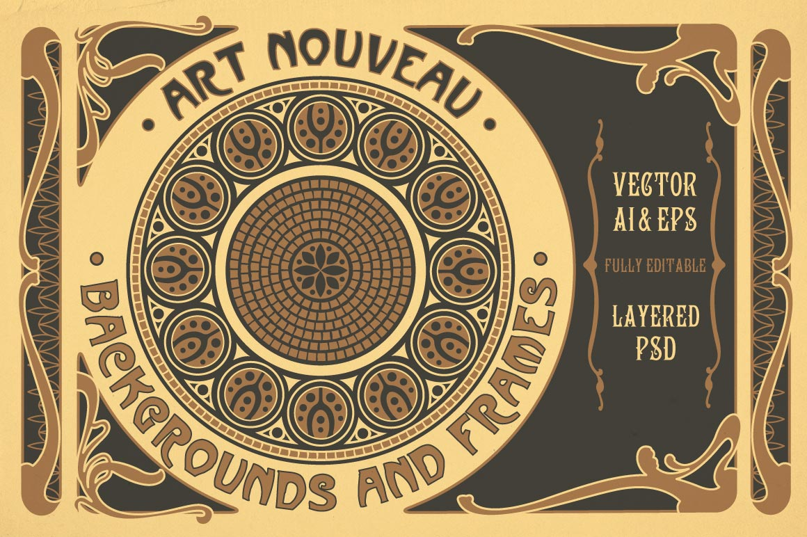 Art Nouveau Backgrounds and Frames by wingsart