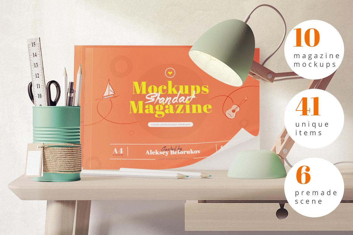 10 Magazine mockups and 41 Items by Aleksey Belorukov