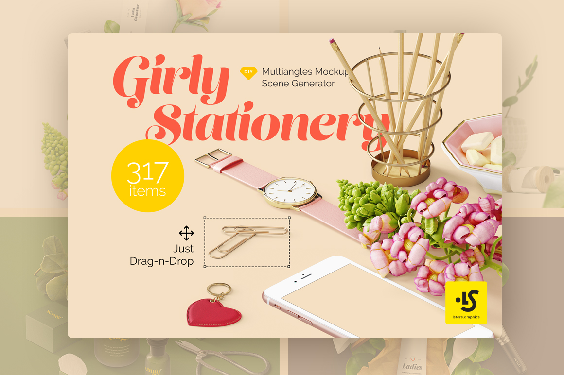 Girly Stationery Mockup Creator by LS-tore