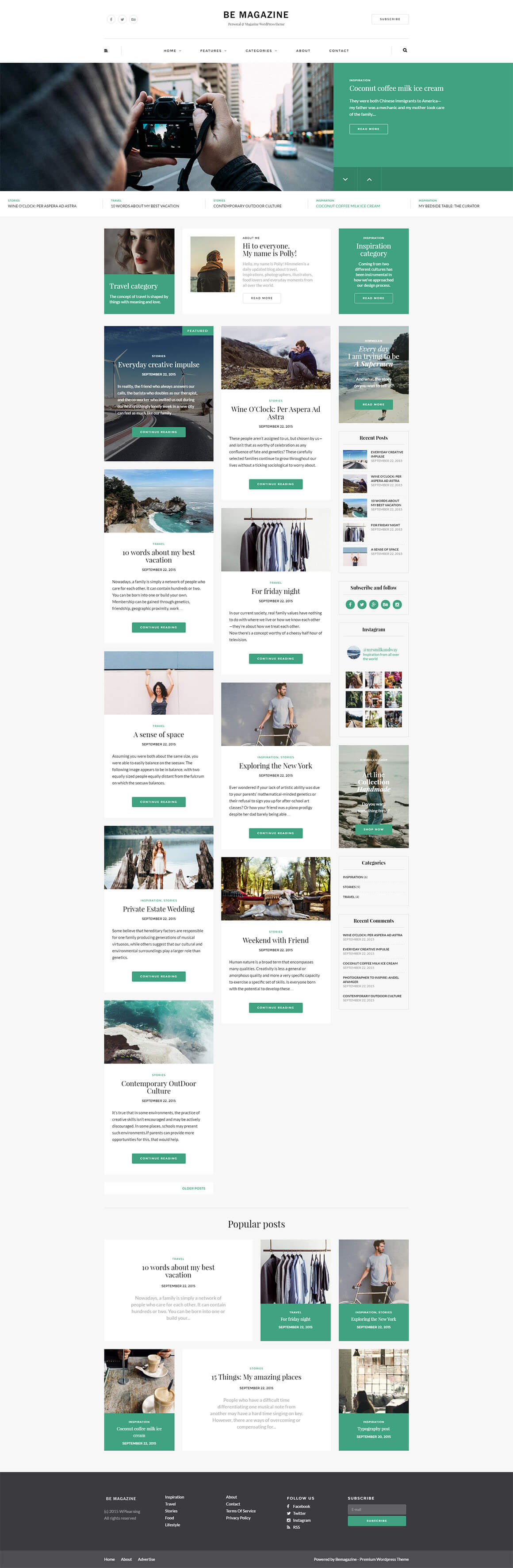 Be | Personal & Magazine WP Theme by vegatheme