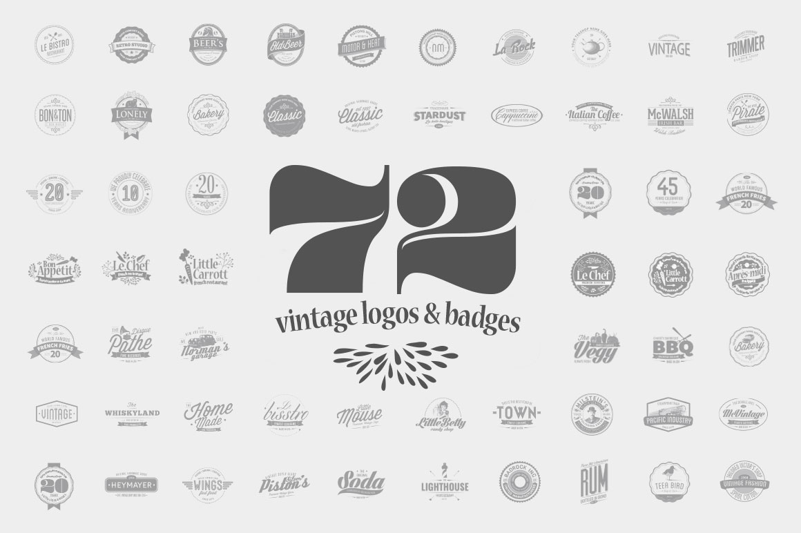 72 Vintage Logos & Badges by The Logo Shop