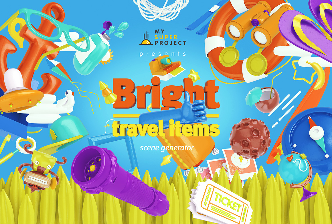 Bright Travel Items Scene Generator by mysuperproject