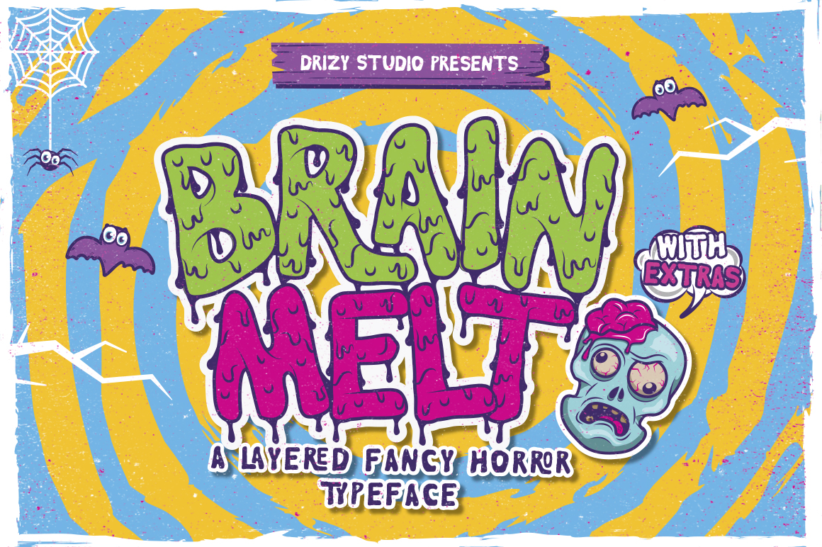 Brain Melt Layered Typeface by drizy