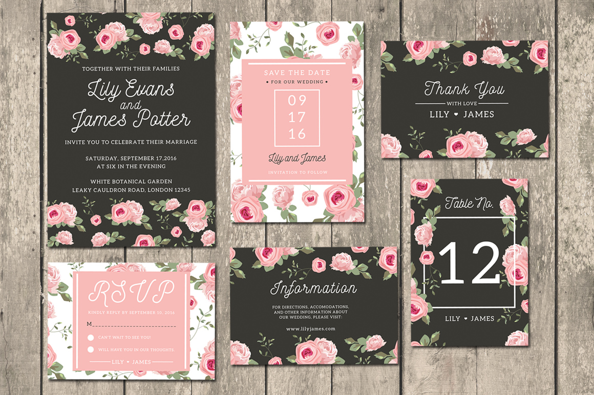 Floral Wedding Invitation Suite by iamwulano