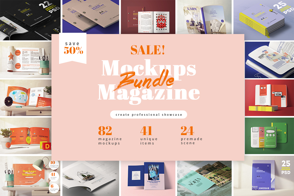 82 MAGAZINES MOCKUPS BUNDLE by Aleksey Belorukov