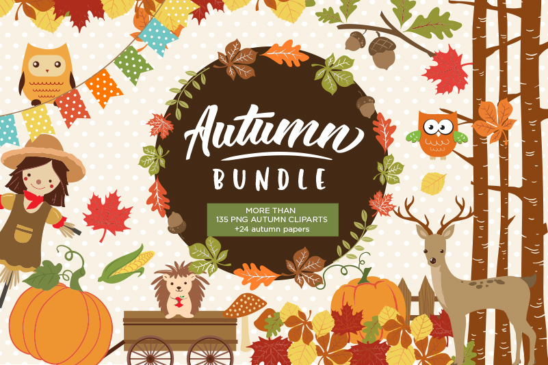 Autumn Clipart Bundle by BlackCatsMedia