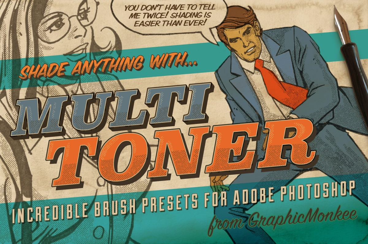 Multi Toner - Comic Brush Presets for PS by GraphicMonkee