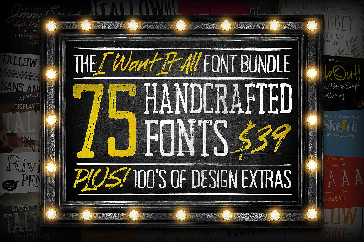 75 Handcrafted Fonts for $39 by Tom Chalky