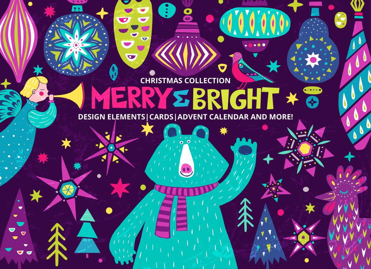 MERRY and BRIGHT - Christmas Illustration Set by PicByKate