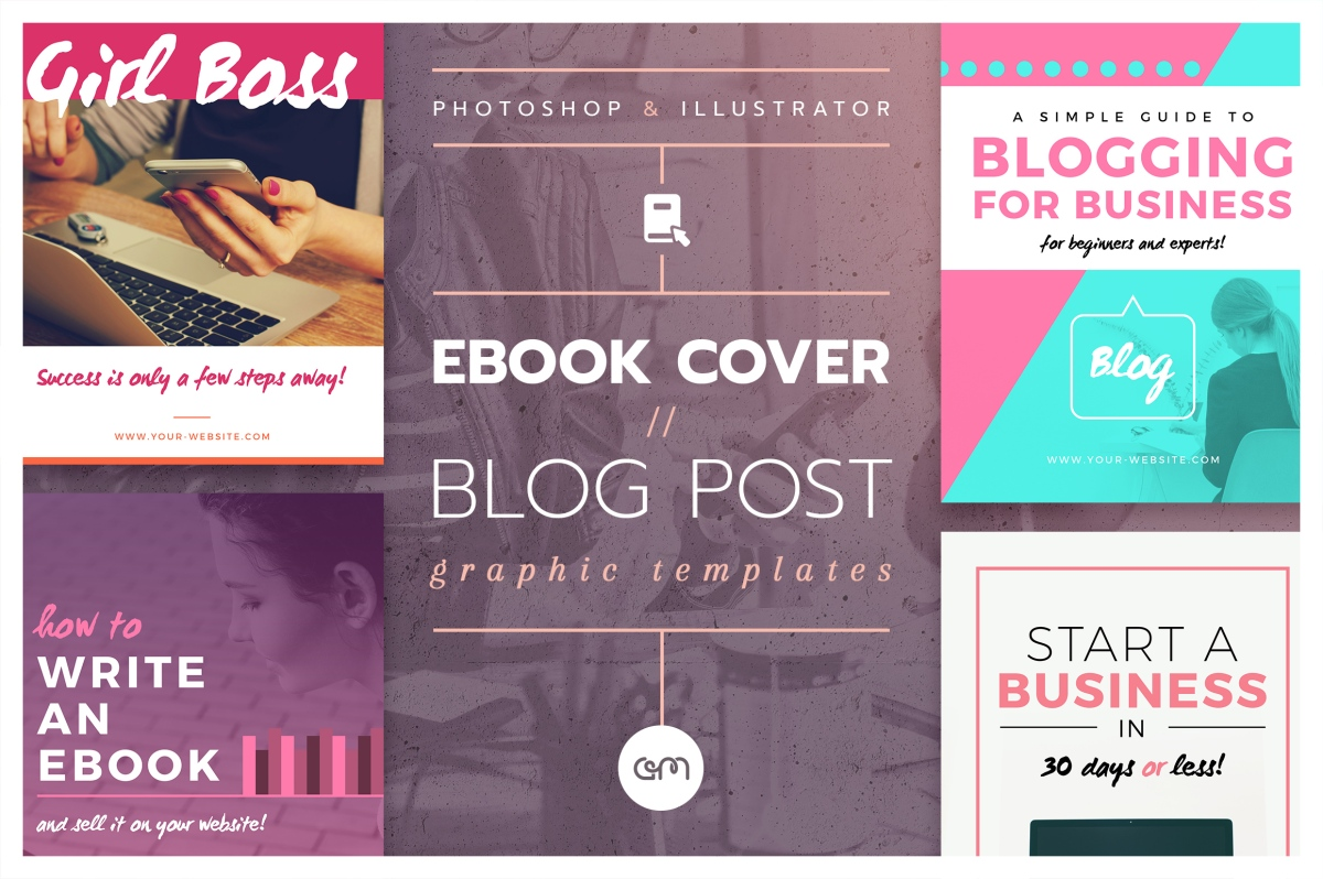 Easily create you own ebook cover with these templates by AM Studio