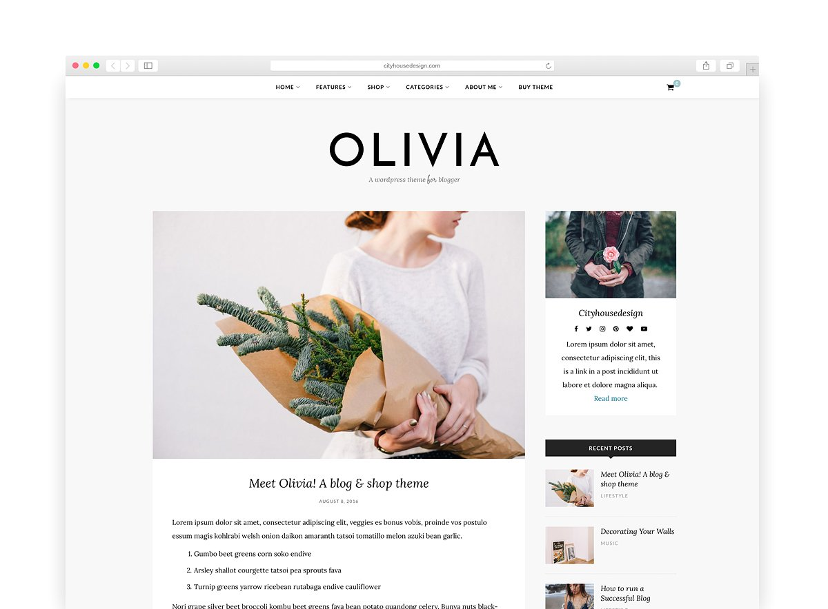 Olivia - A Fashionable Wordpress Blog & Shop Theme by CityHouseDesign
