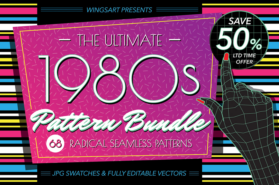 The Ultimate 1980s Pattern Bundle by wingsart