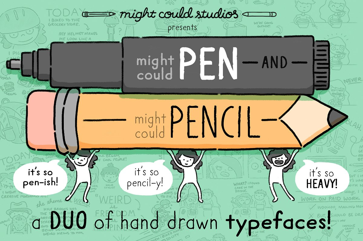 Might Could Pen + Pencil Font Duo by Might Could Studios