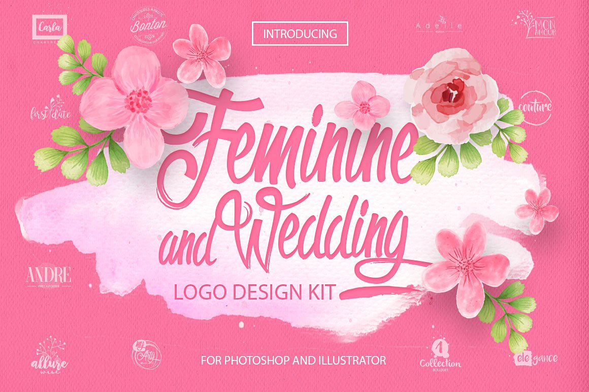 Feminine Amp Wedding Design Kit By Designsomething Hug A