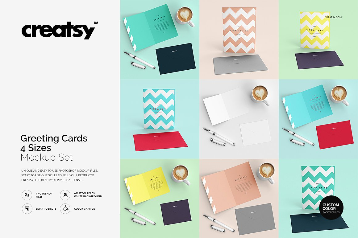 Greeting Cards 4 Sizes Mockup Set by creatsy2