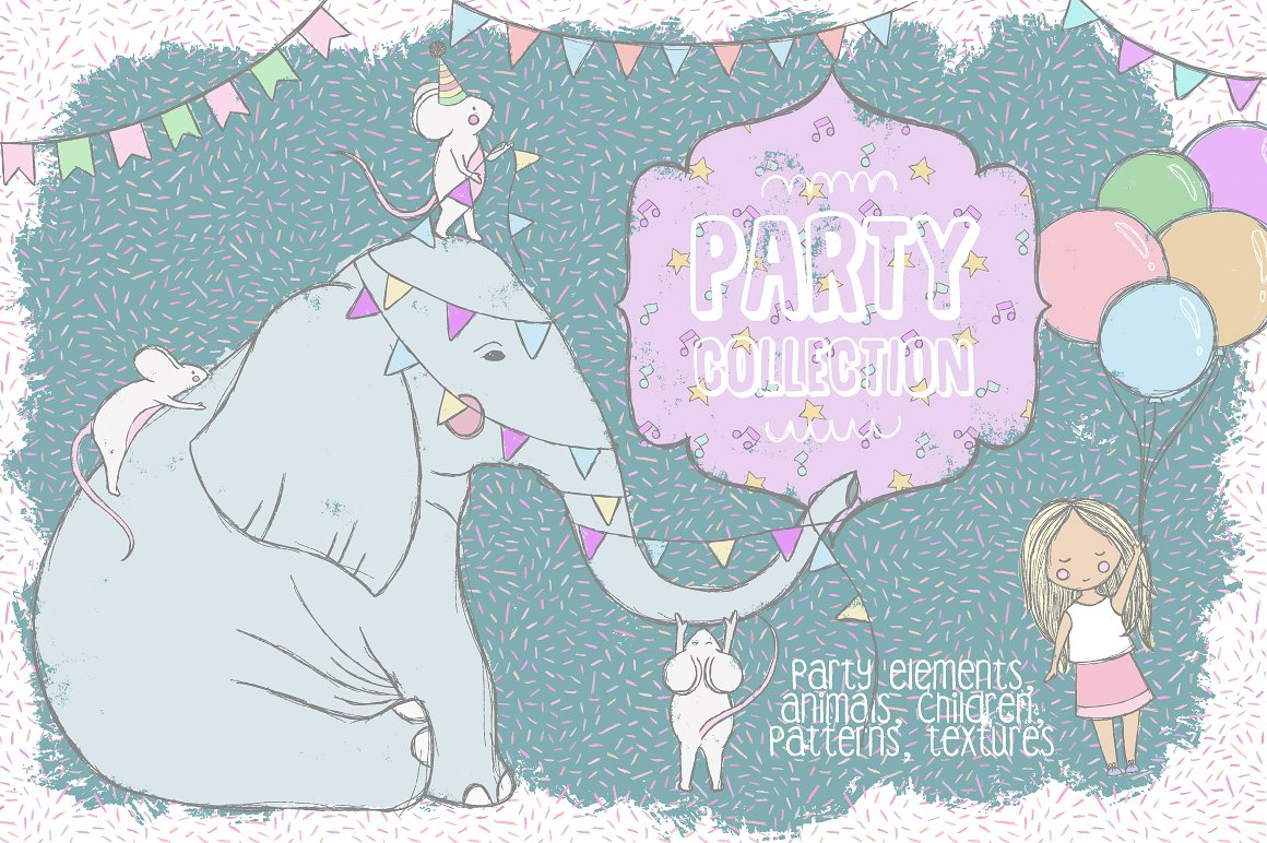 Cute Party Collection Illustrations by Julia Dreams