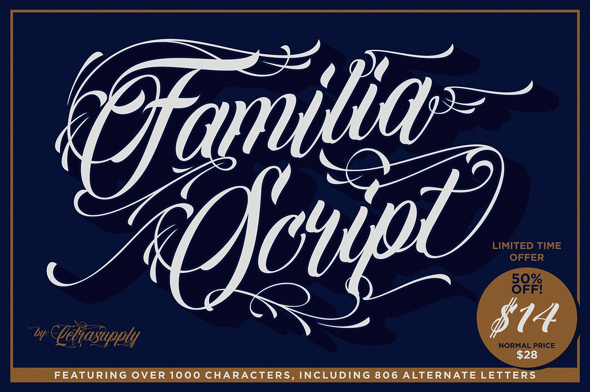 Familia Decorative Script by Letrasupply