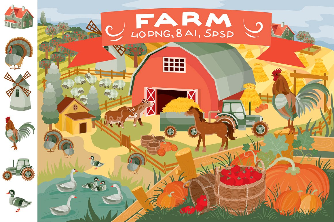 Cute Farm and Animal Illustrations by Kopirin