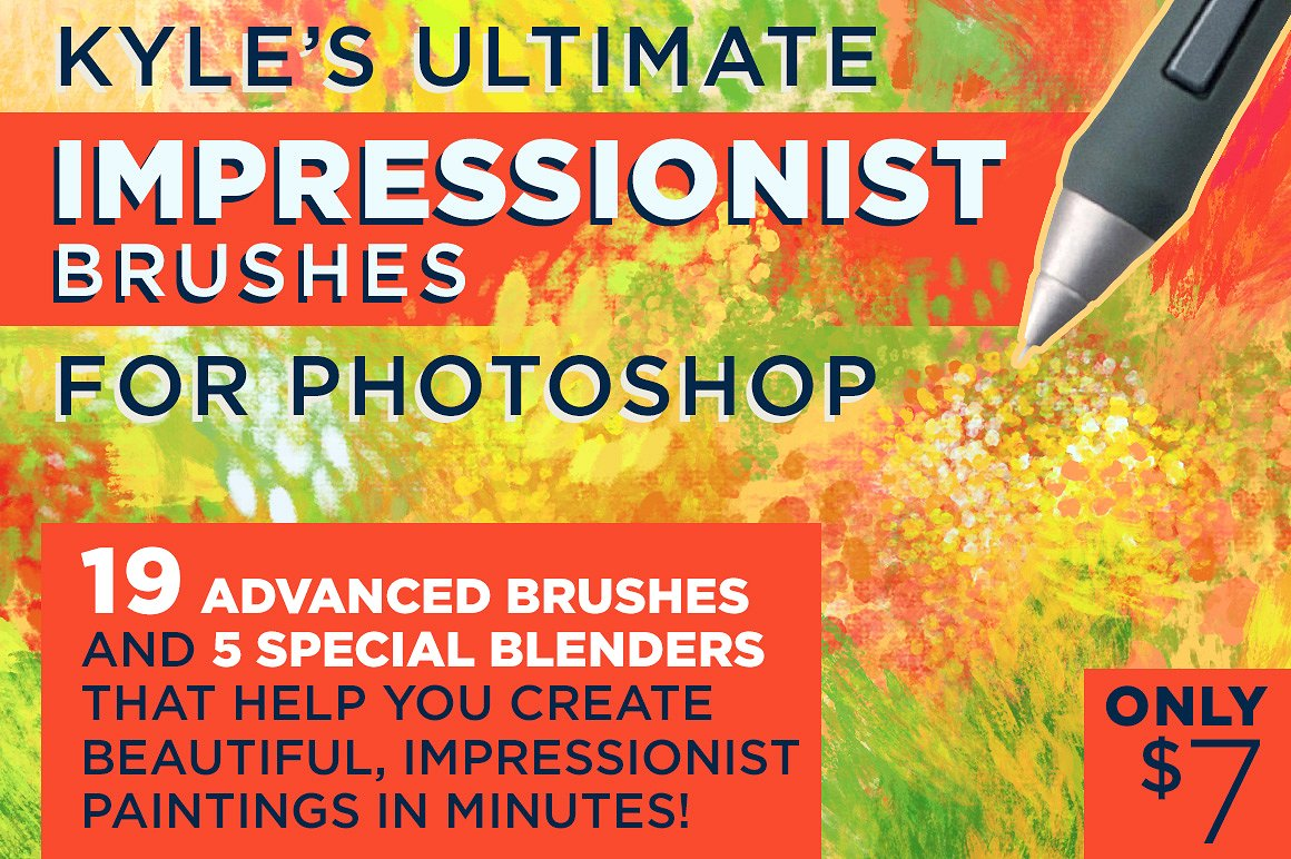 Kyle's IMPRESSIONIST Brushes for Photoshop by Kyle's Pro Design Tools