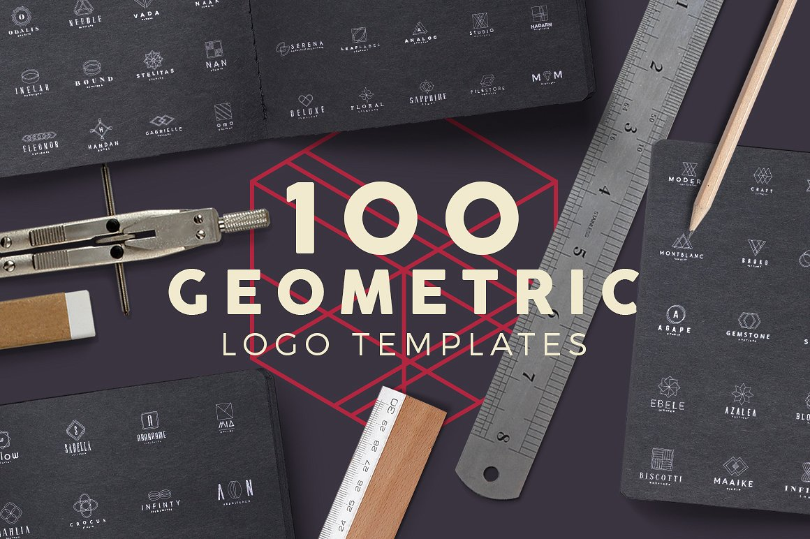 100 Geometric Logos Set by Zeppelin Graphics
