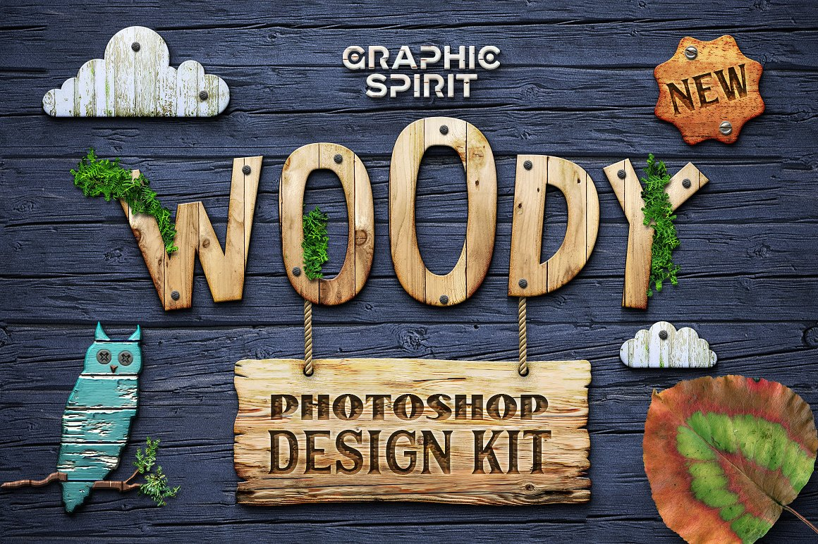 WOODY Photoshop Design Kit by Graphic Spirit