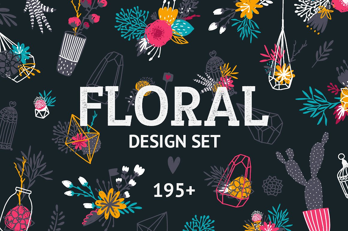 Floral design set - Over 195 Elements by tatiletters