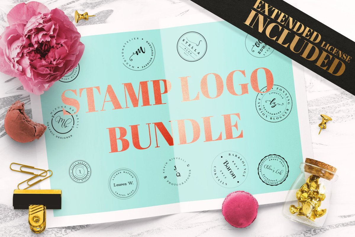 Feminine Stamp Logo Templates Bundle by IsikChic