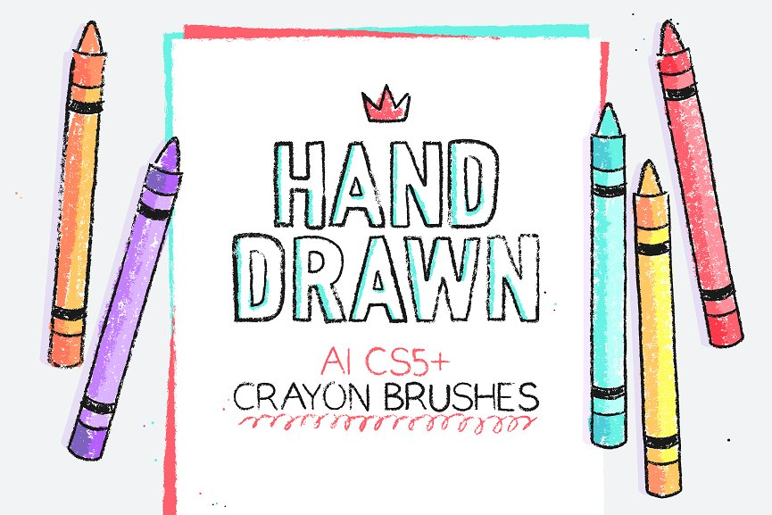 134 Illustrator Crayon Brushes by Side Project