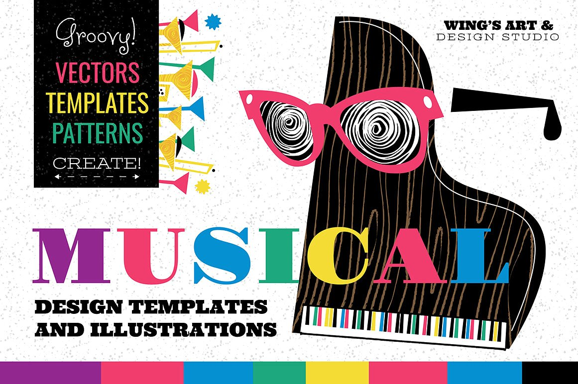 Musical Instrument Graphics and Design Templates by Wing's Art Studio