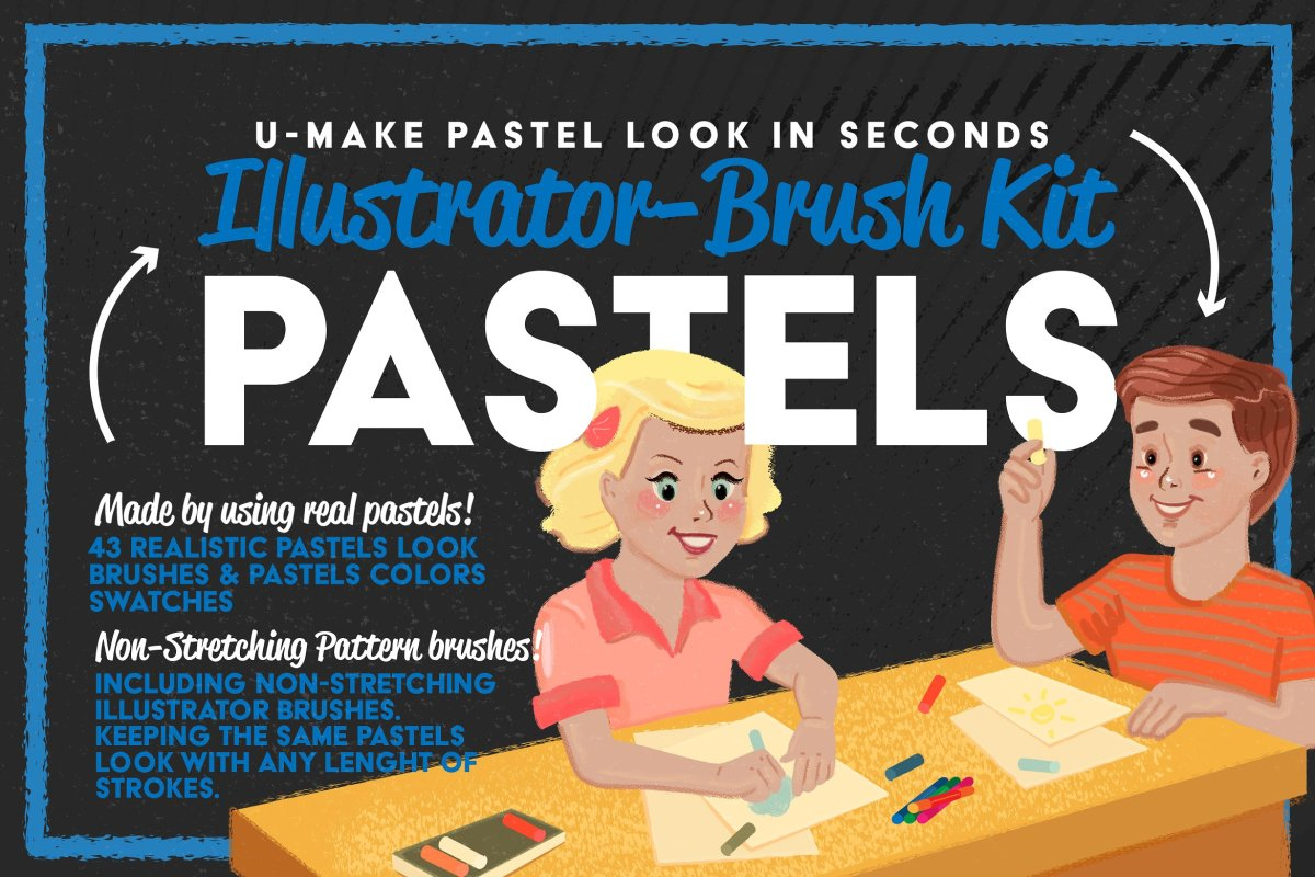 Authentic Pastel Brushes for Illustrator by Leonard Posavec