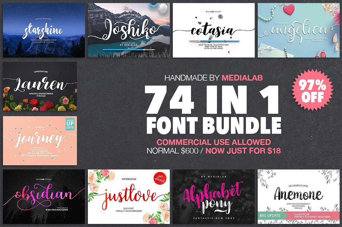 74 Amazing Fonts from MediaLab 97% Off