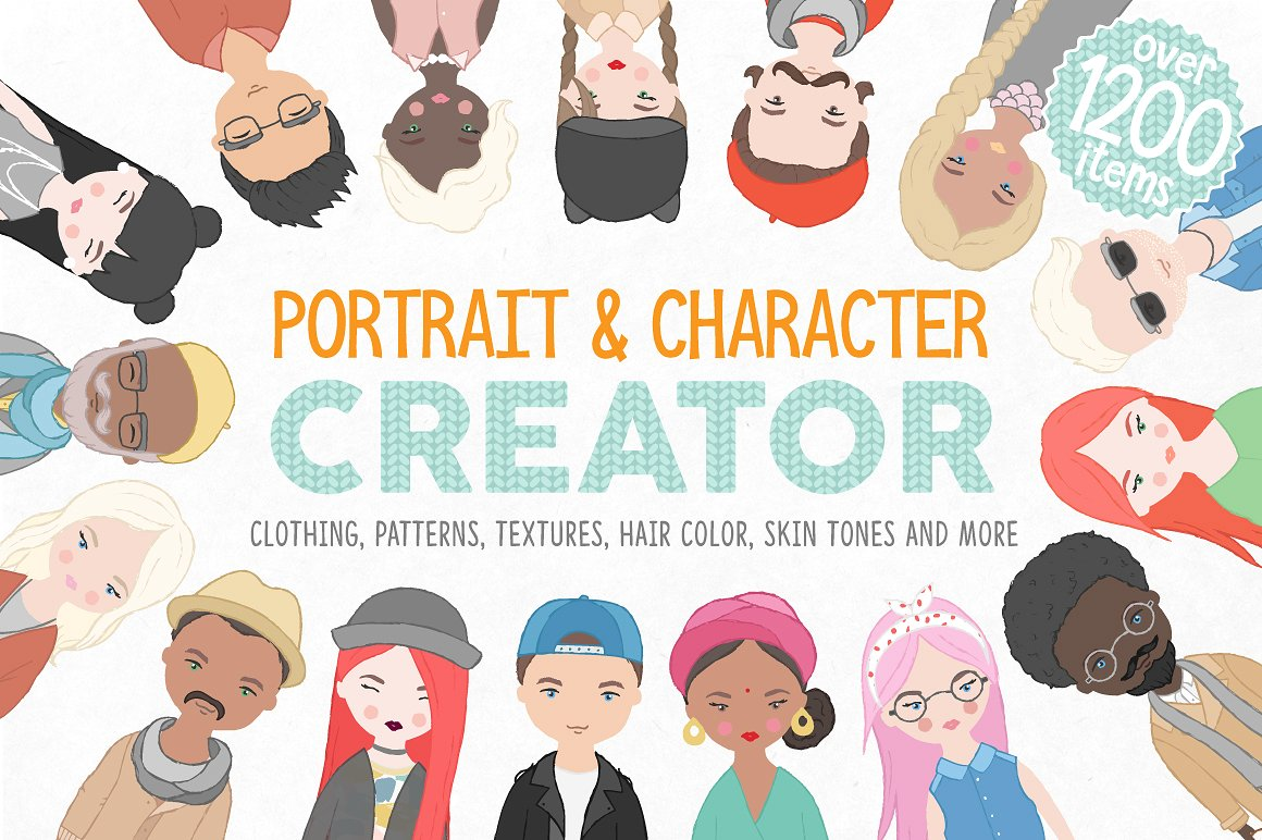 Illustrated Portrait and Character Maker Kit by Julia Dreams