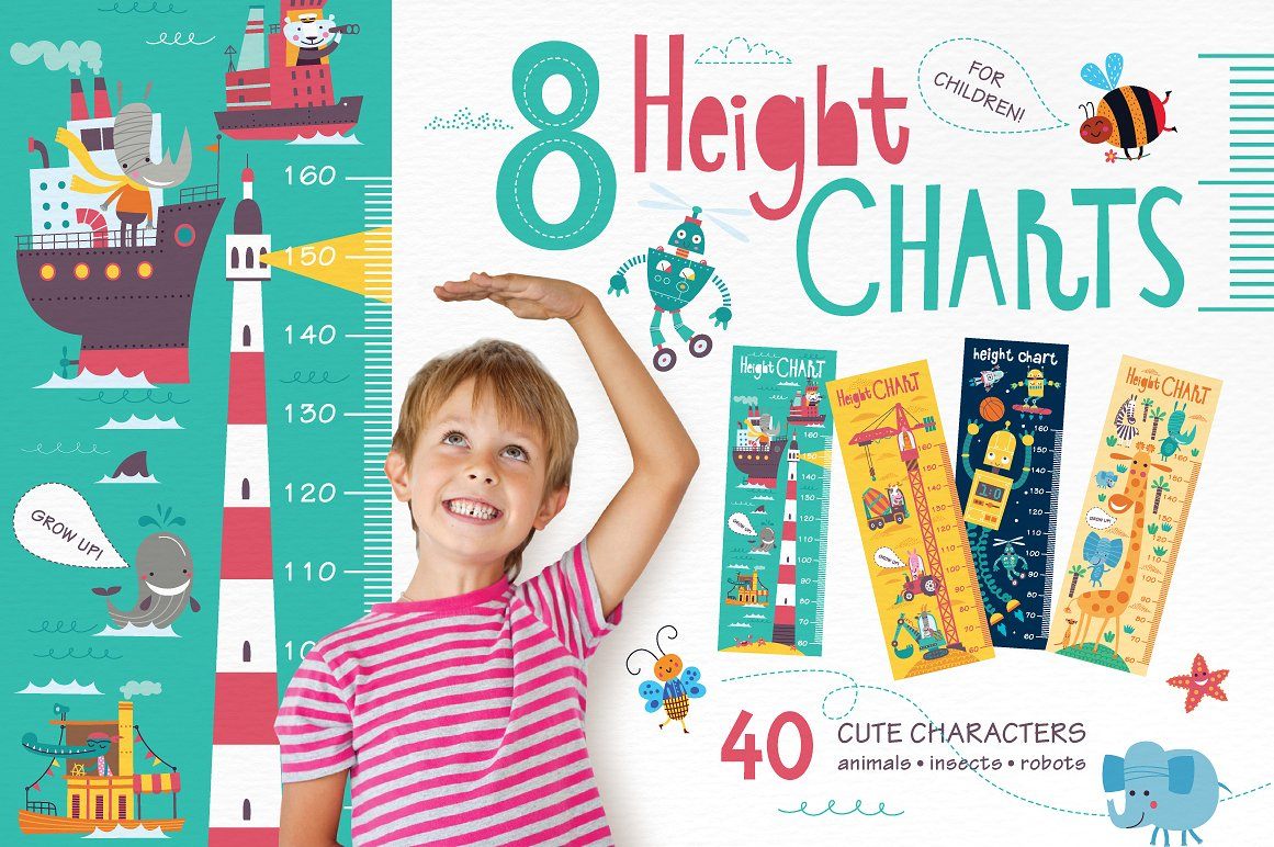 The Incredibly Cute Height chart Illustration Bundle by Alena Razumova